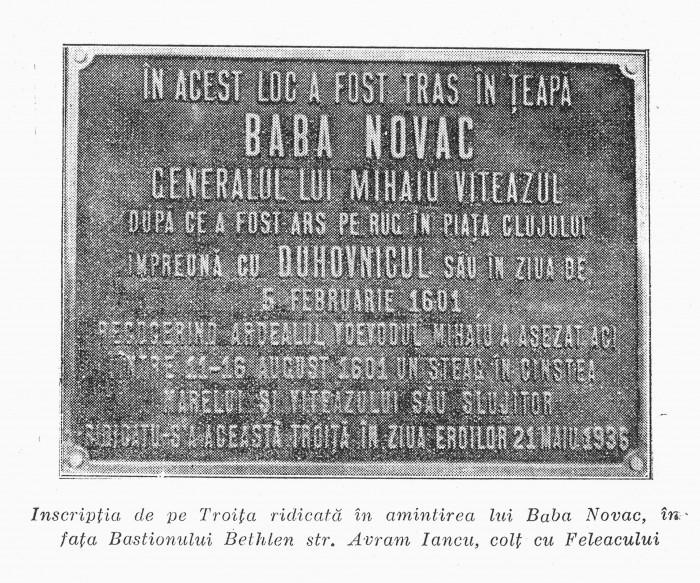 Placuta comemorativa Baba_Novac