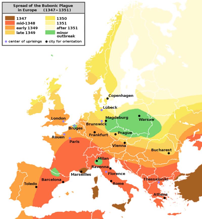 Harta raspandirii epidemiei de ciuma din 1347