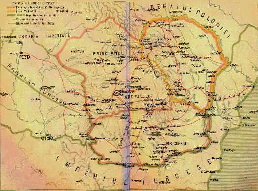 harta statului lui Mihai Viteazul 1600